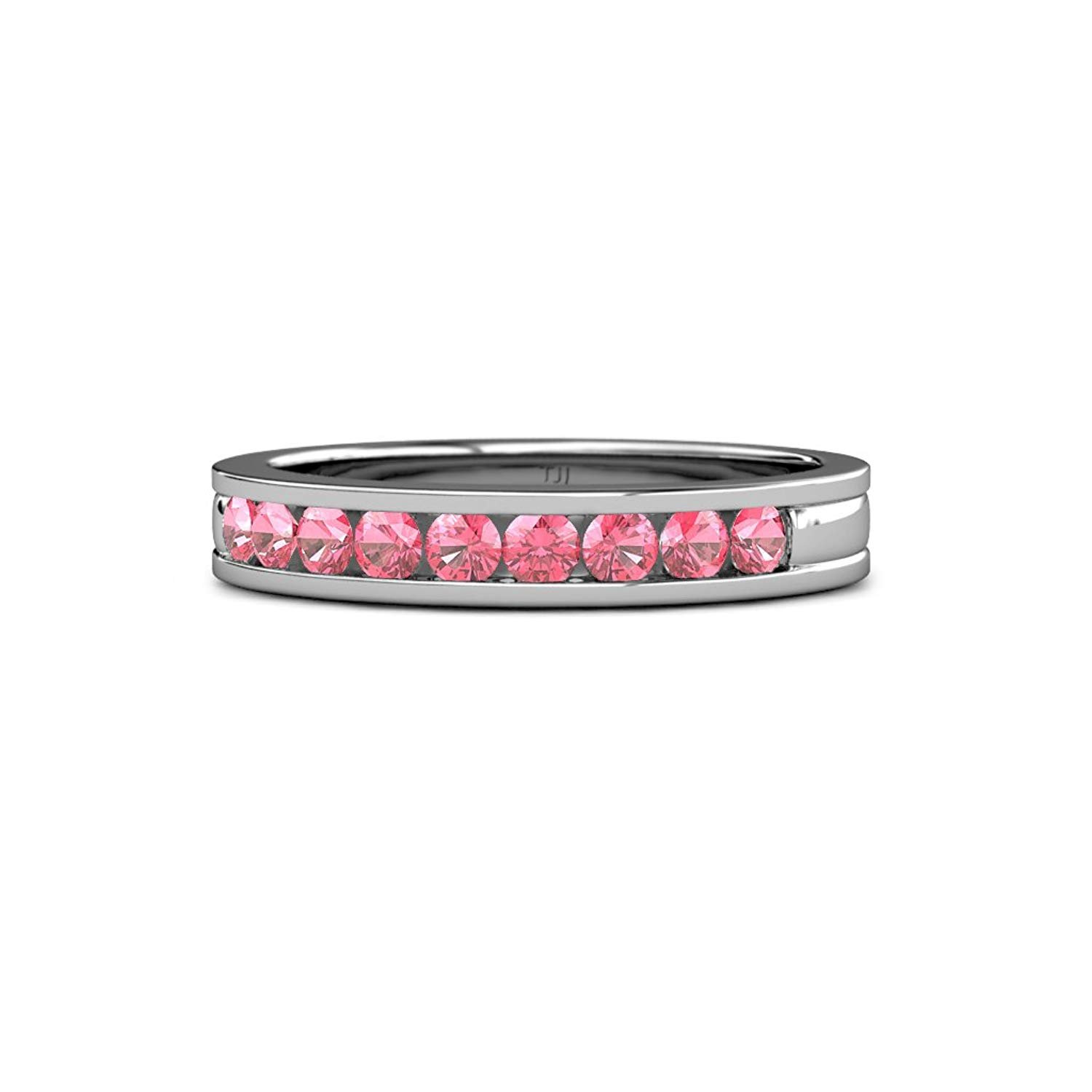 Pink Tourmaline 2.2mm 9 Stone Channel Set Wedding Band 0.27 Carat tw in 14K White Gold.size 8.5 by TriJewels