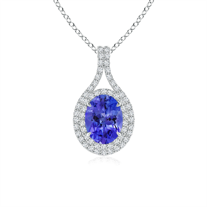 Mother's Day Jewelry Necklace Oval Tanzanite Double Halo Pendant Necklace in 950 Platinum (8x6mm Tanzanite)... by Angara.com