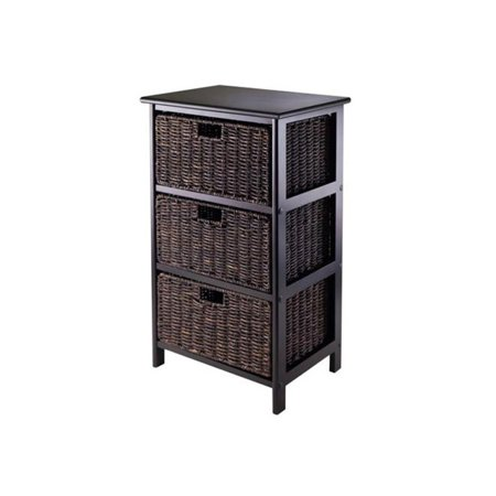 Omaha Storage Rack, 3 Chocolate Baskets, Black (Omaha California)
