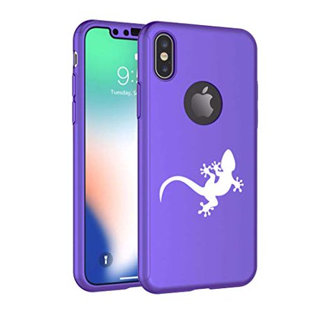 360° Full Body Thin Slim Hard Case Cover + Tempered Glass Screen Protector for Apple iPhone Gecko Lizard (Purple, for Apple iPhone X/iPhone Xs)
