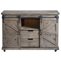 Presley Two Door, Two Drawer and Open Center Cabinet - Driftwood Grey