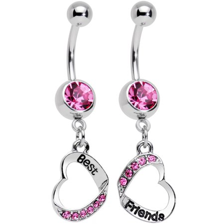 Body Candy Stainless Steel Rosy Pink Accent Best and Friends Matching Heart Dangle Belly Ring