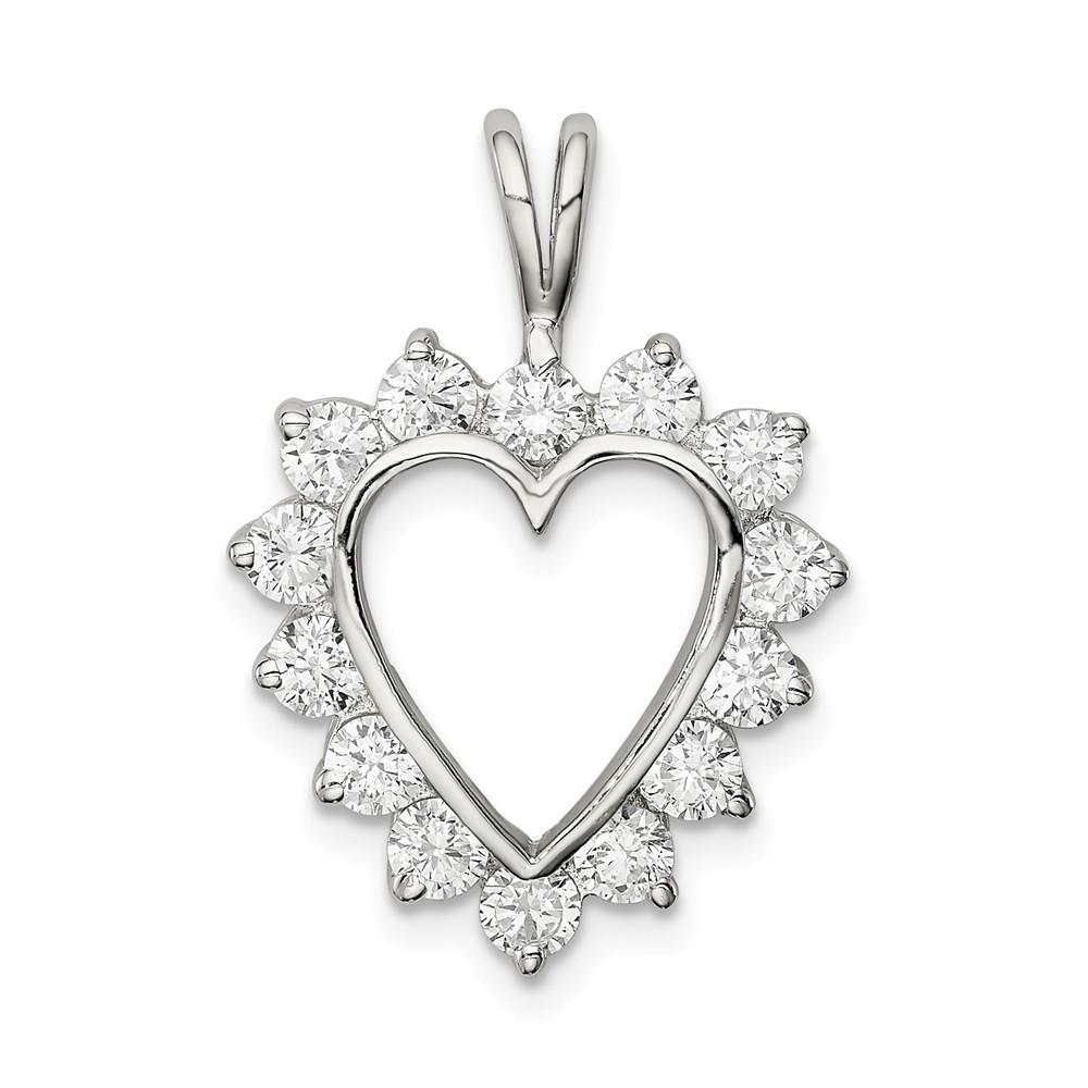 Sterling Silver CZ Heart Pendant
