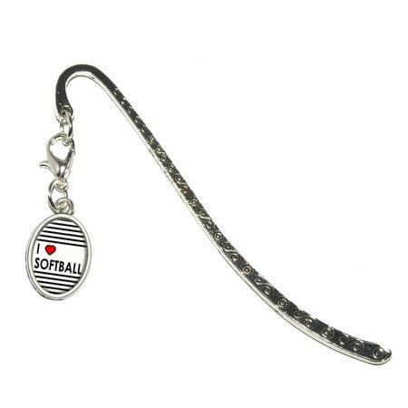 Love Heart Bookmark (I Love Heart Softball Oval Charm Metal)