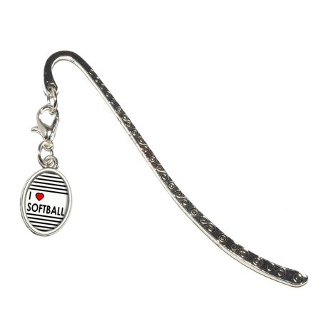 I Love Heart Softball Oval Charm Metal Bookmark Engraved Heart Bookmark