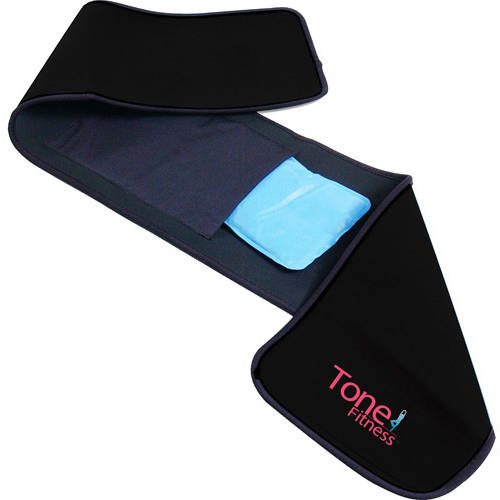 Tone Fitness Waist Slimmer Belt w/ Gel Pack, Black