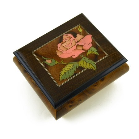 Magnificent Single Pink Rose Musical Box From Sorrento, Italy - 18th Variation ()