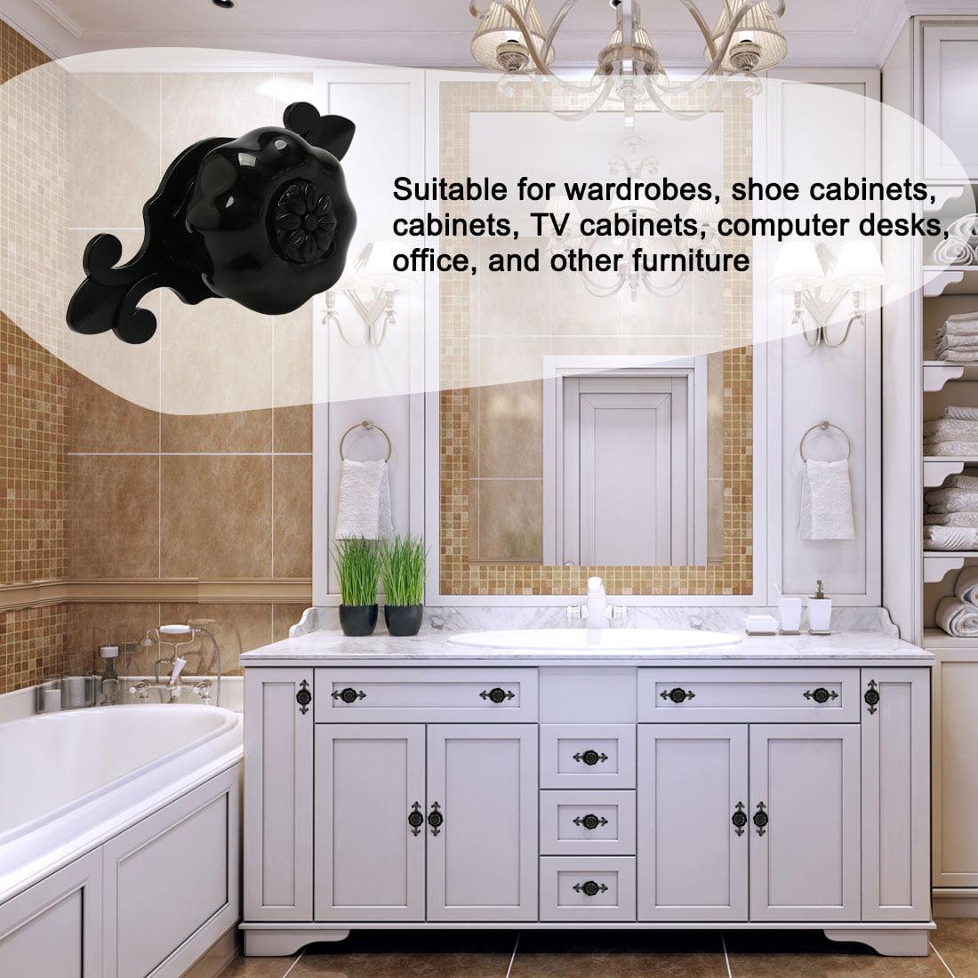 Ceramic Knob Pumpkin Drawer Knob Pull Handle Door Cupboard Wardrobe 6pcs Black - image 7 de 8