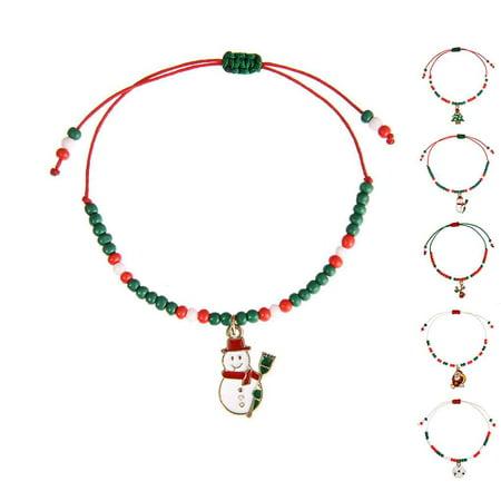 Ustyle Cute Drop Oil Christmas Pendant Bracelet Xmas Decor Home Happy New Year Party Ornaments Women Hand-woven Bangle - image 8 de 9