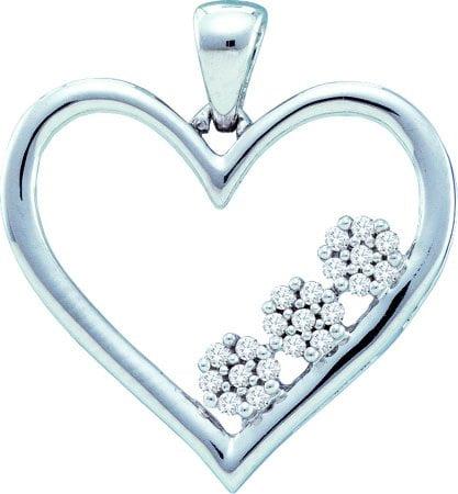 10K White Gold 0.07CT Micro Pave Round Cut Diamond Heart Tri Flower Pendant