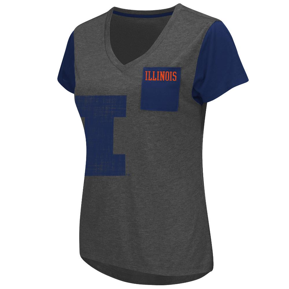 Womens NCAA Illinois Fighting Illini Short Sleeve Tee Shirt (Heather Charcoal) by Colosseum