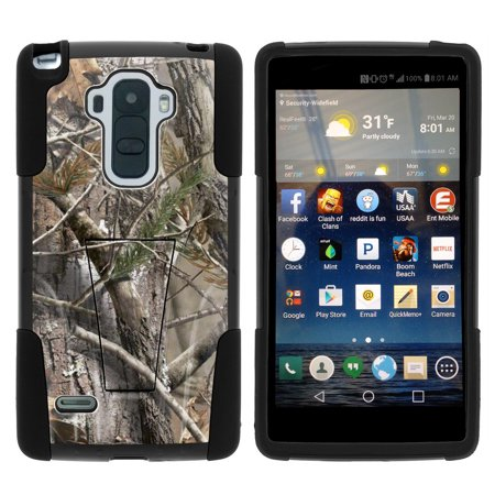 Lg G Stylo Ls770 Strike Impact Dual Layered Shock Resistant Case With Built In Kickstand By Miniturtle    Tree Bark Camo