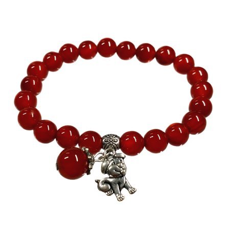 Handmade  Red Agate Bracelet with Chinese 2018 Zodiac Dog for good luck