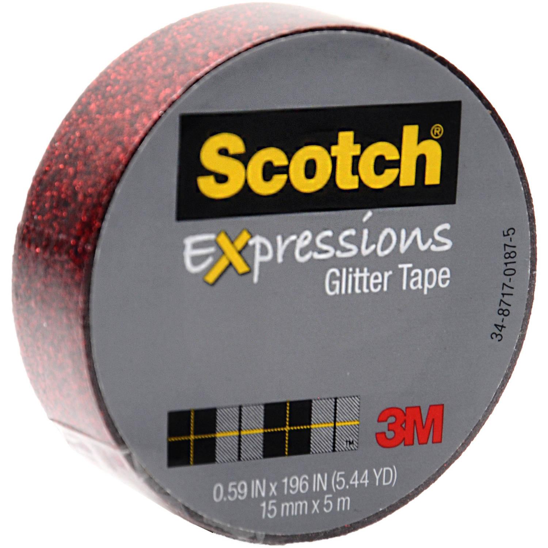 """Scotch Expressions Glitter Tape, .59"""" x 196"""", Red Glitter"""