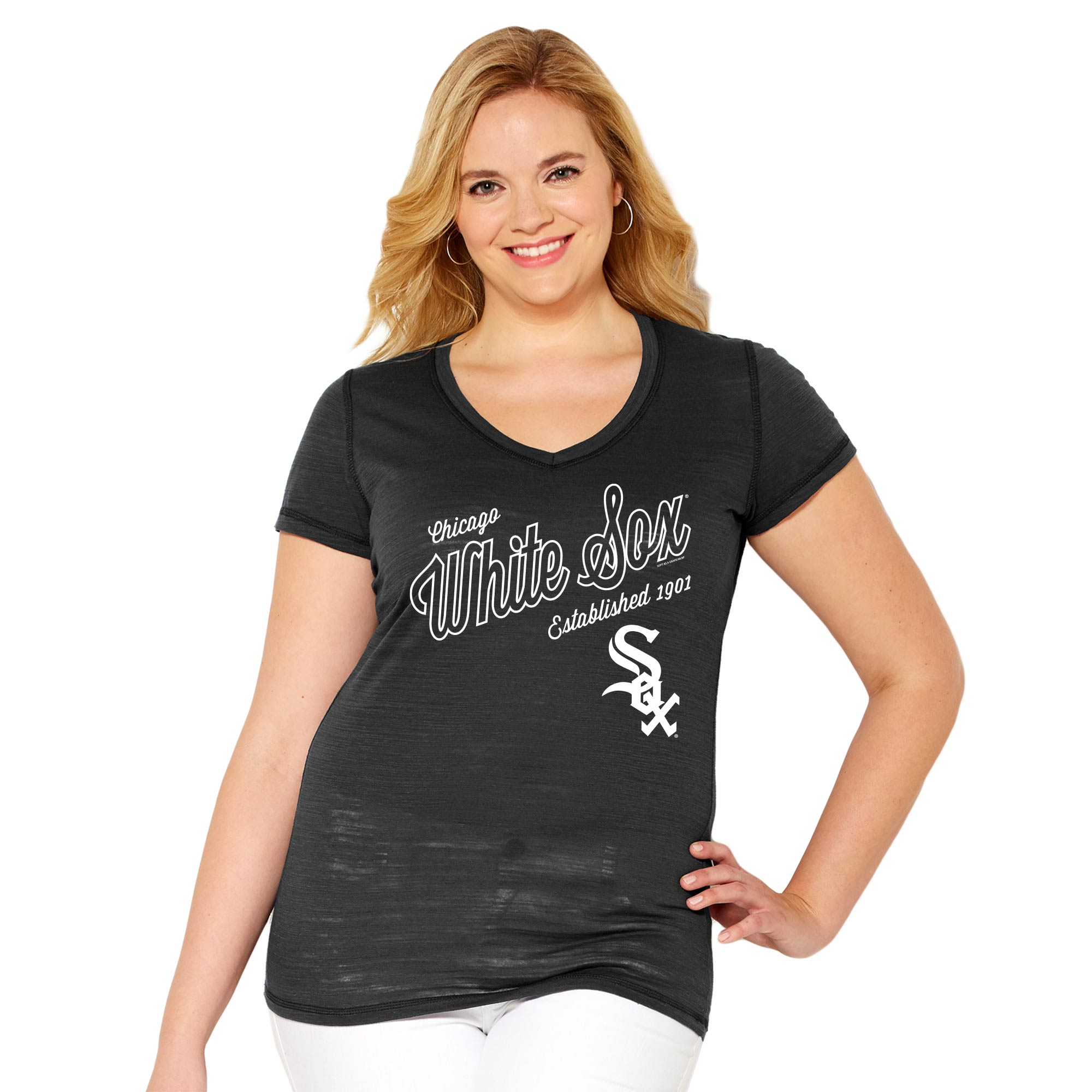 Chicago White Sox Soft As A Grape Women's Plus Size Fastball V-Neck T-Shirt - Black