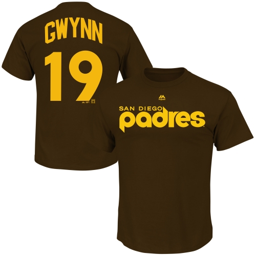 Tony Gwynn San Diego Padres Majestic Cooperstown Player Name & Number T-Shirt - Brown