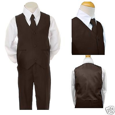 INFANT TODDLER BOYS EASTER FORMAL WEDDING PARTY VEST SETS SUITS DARK BROWN S-7