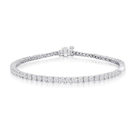 8 Inch 10k White Gold 3 Carat Diamond Tennis Bracelet