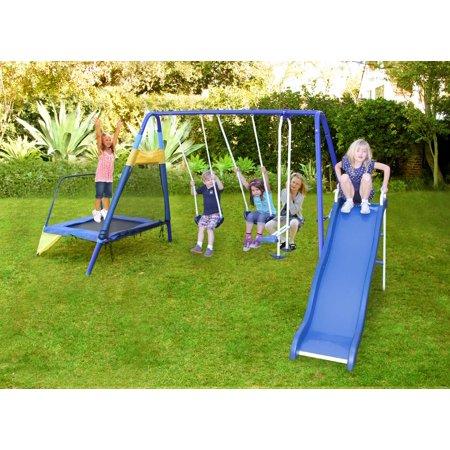 Sportspower Almansor Metal Swing Set With Slide And Trampoline