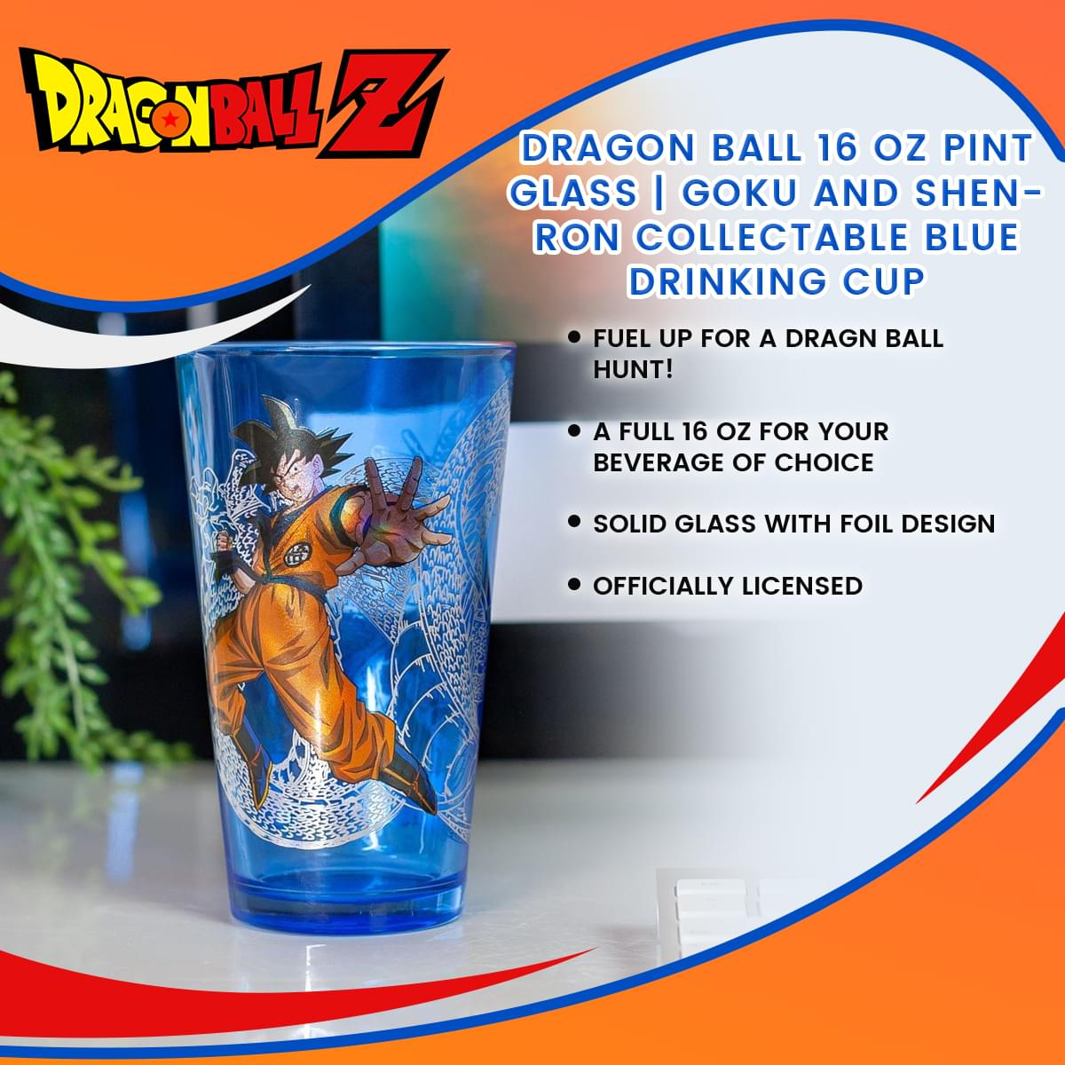 Dragon Ball 16 Oz Pint Glass Goku and Shenron Collectable Blue Drinking Cup