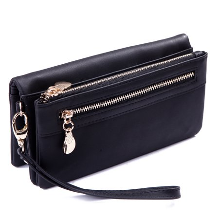 HDE Womens Suede Wallet Multi-Function Zipper Clutch Wristlet (Black) (Camo Wallet Clutch)