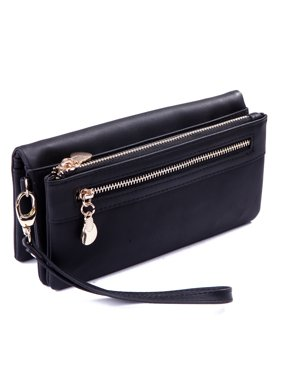 0e1d1739075 Product Image HDE Womens Suede Wallet Multi-Function Zipper Clutch Wristlet  (Black)