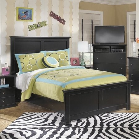Ashley Maribel Wood Panel Bed in Black ()