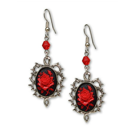 Gothic Red Rose Cameo Earrings Surrounded by Thorns with Red Bead by Real Metal (Antique Cameo Earrings)