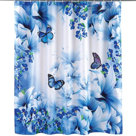 Blue Butterfly Garden Decorative Bathroom Shower Curtain with Rings ()