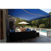 16 x 10 ft. Retractable Outdoor Motorized Patio Awning, Blue