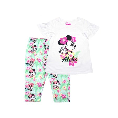 Minnie Mouse Aloha Lace Detail Top and Legging, 2-Piece Outfit Set (Little Girls) - Minnie Mouse Outfits For Adults