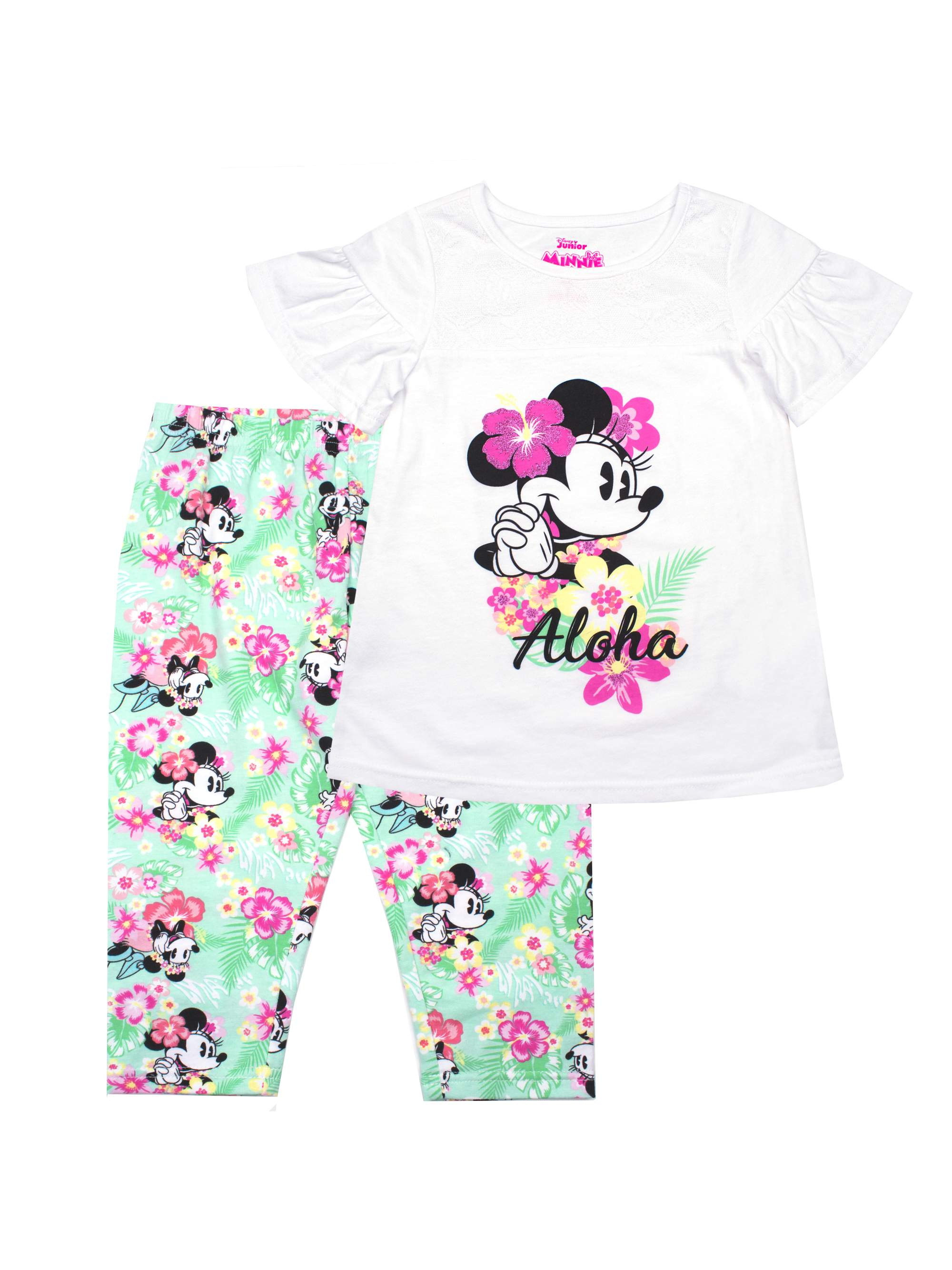 Aloha Minnie Lace Detail Top and Legging, 2-Piece Outfit Set (Little Girls)