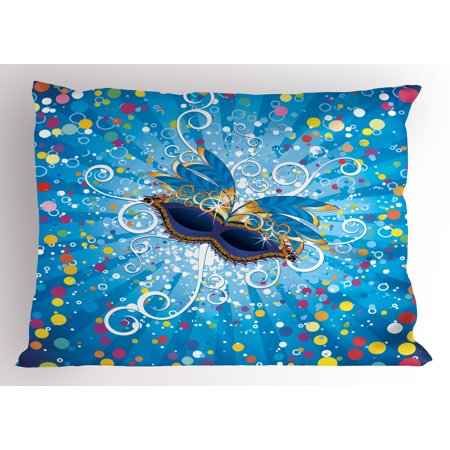 Mardi Gras Pillow Sham Blue Backdrop with Colorful Dots Spots and Carnival Mask with Stylized Swirls, Decorative Standard Queen Size Printed Pillowcase, 30 X 20 Inches, Multicolor, by Ambesonne (Mardi Gras Backdrop)
