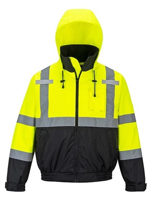 Portwest US364 4XL Hi-Visibility Premium 2-in-1 Waterproof Bomber Jacket, Yellow & Black - Regular