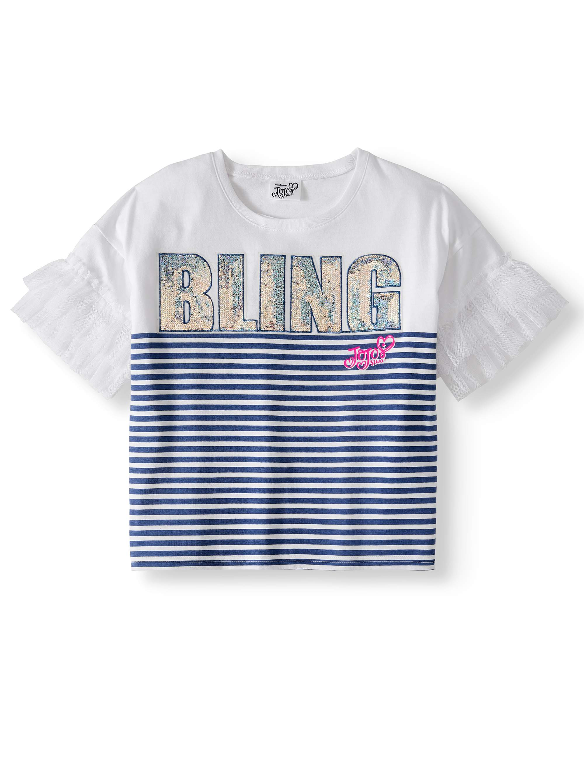 """Bling"" Sequin Ruffle Sleeve T-Shirt (Little Girls & Big Girls)"
