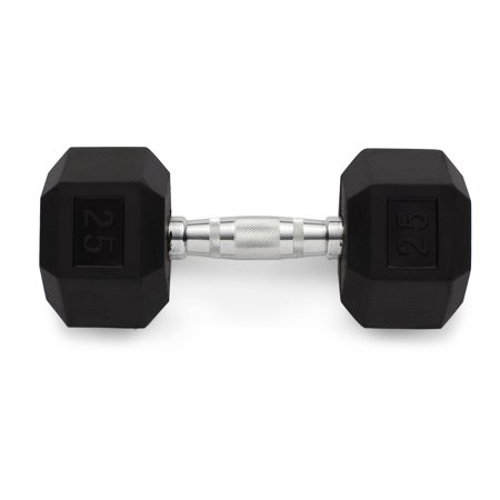 Weider Rubber Hex Dumbbell with Knurled Grip, 25 lbs