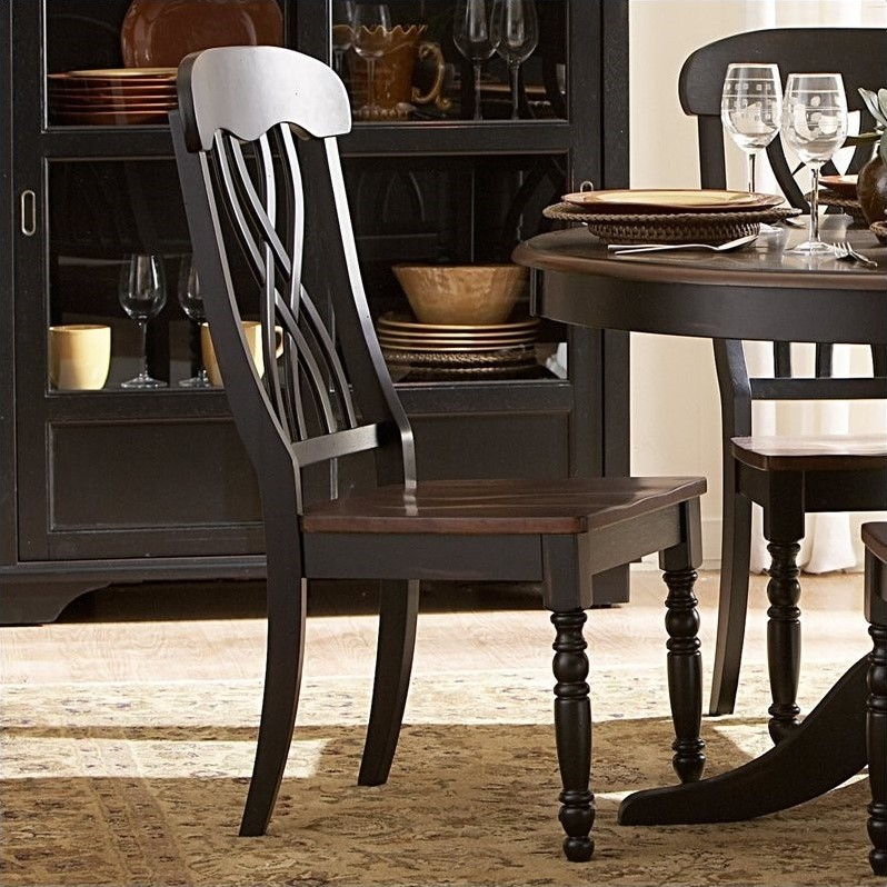 Trent Home Ohana Dining Chair in Black and Cherry (Set of 2)