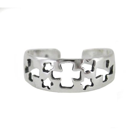 Sterling Silver Cutout Crosses and Stars Band Adjustable Toe Ring (Adjustable Star Toe Ring)