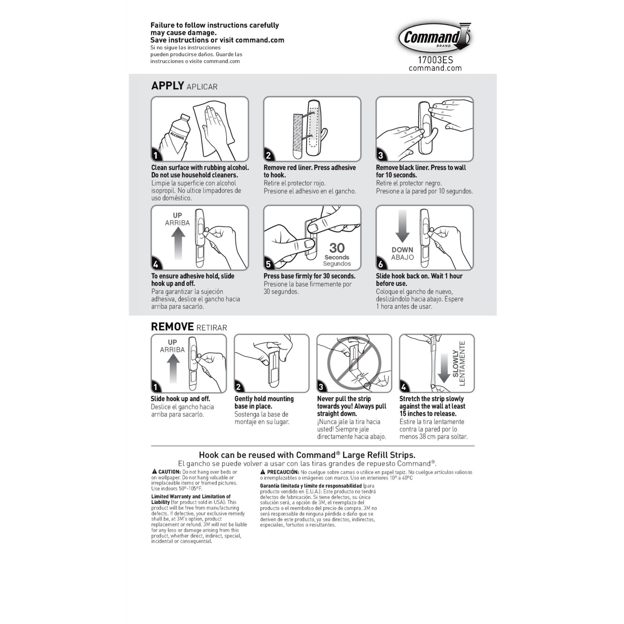 6-Strips Command Large Utility Hook 3-Hooks White 17003-3ES