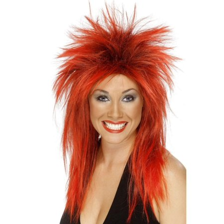 80's Rock Star Wig (80's Rock Diva Adult Costume Long Red & Black)