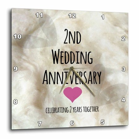 2 Year Wedding Anniversary Gift.3drose 2nd Wedding Anniversary Gift Cotton Celebrating 2 Years Together Second Anniversaries Two Yrs Wall Clock 15 By 15 Inch
