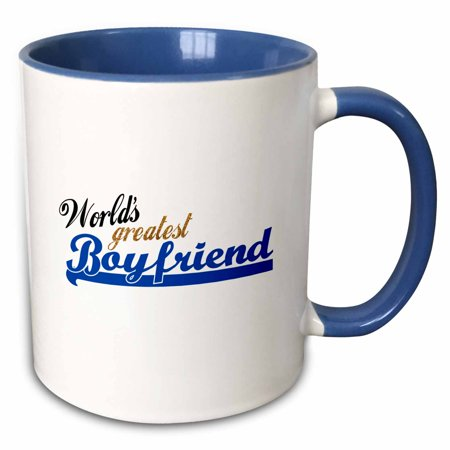 3dRose Worlds Greatest Boyfriend - Best boy friend ever - romantic relationship gifts - dating anniversary - Two Tone Blue Mug,