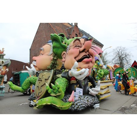 Carnival Costume Group Parade Aalst Mask Poster Print 24 x 36