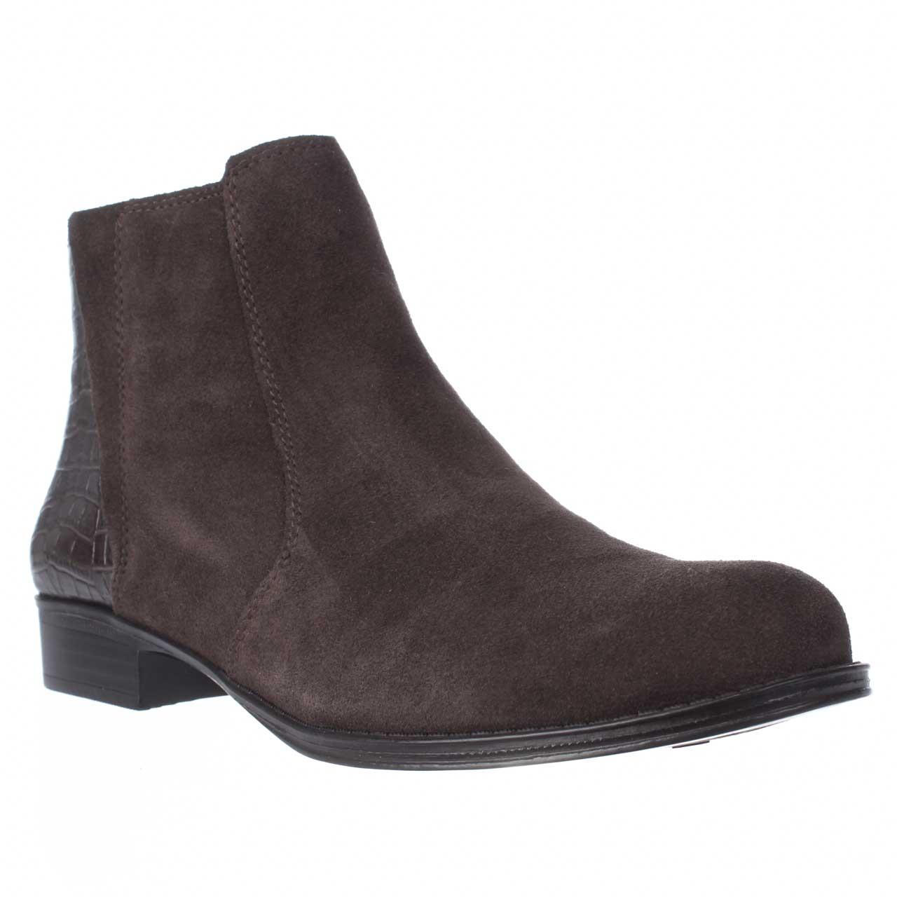 Womens naturalizer Jump Side Zip Ankle Boots - Brown Suede