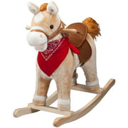 Animated Rocking Horse with Sounds, Plush Ride-On Pony with Wooden Base