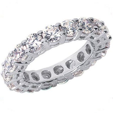 - Platinum 2.7ct Round Cut Diamond Eternity Band, Size 4, Gallery Airline Ring, 1/6ct each