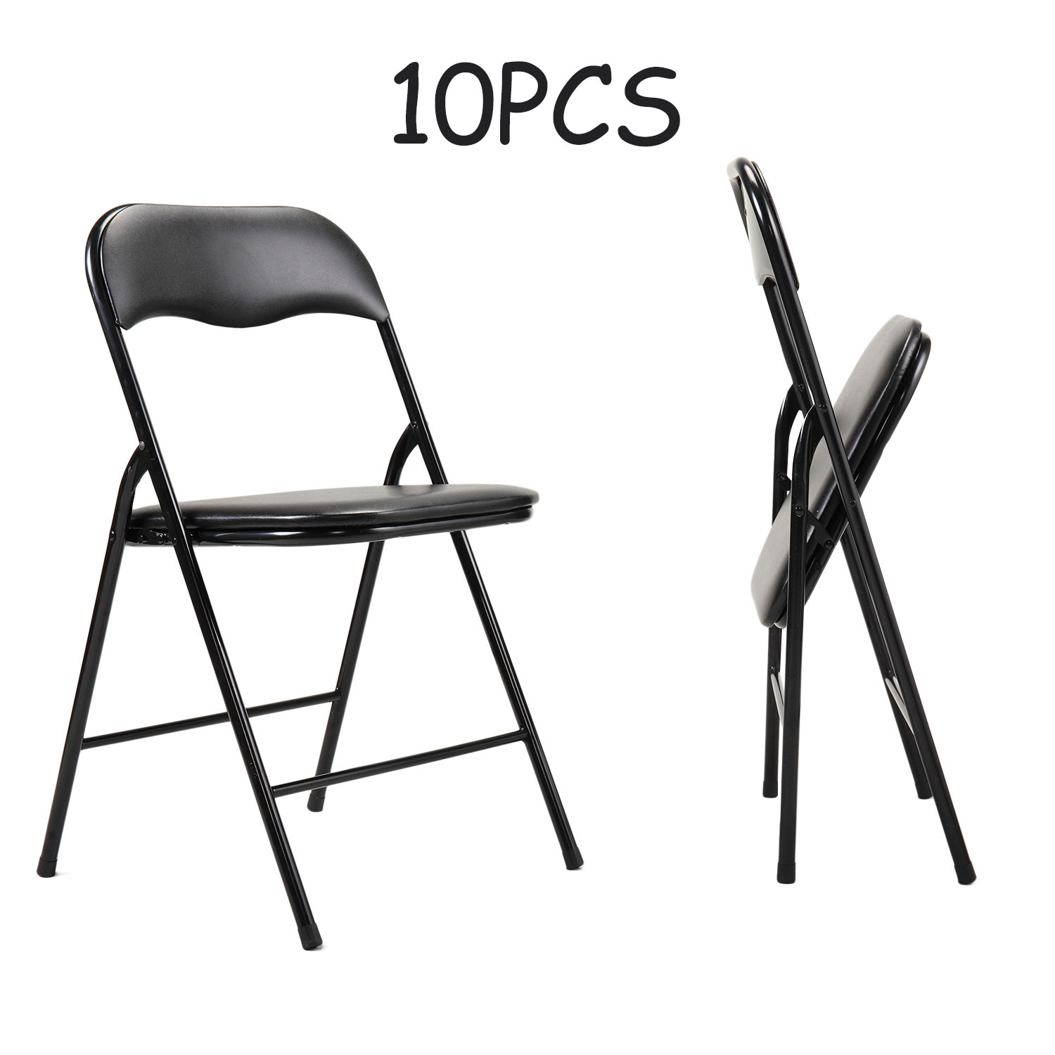 Jaxpety 10 Pack Commercial Plastic Folding Chairs Black Stackable Wedding Party Event Chair W Soft Cushion Seat Outdoor Indoor Walmart Com Walmart Com