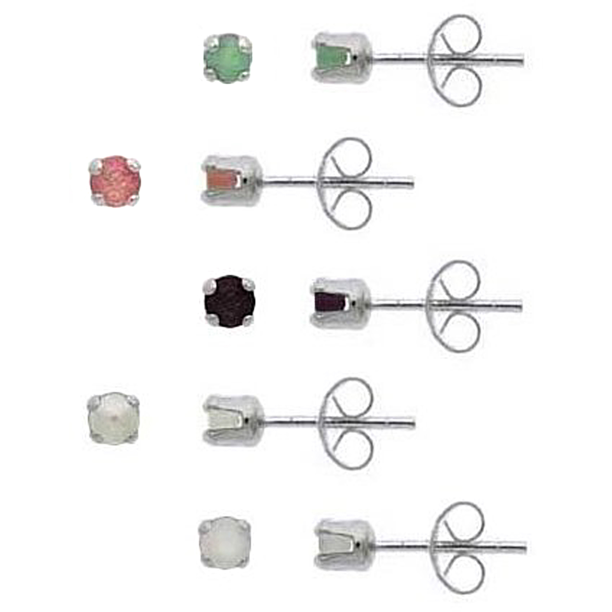 3mm Round Genuine Ruby, Emerald, Sapphire, Opal, Pearl Sterling Silver Stud Earring Set