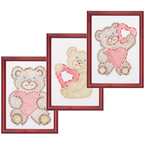 "White Stamped Beginner Embroidery Kit 6""X8"" Samplers 3/Pkg-Fuzzy Bears"