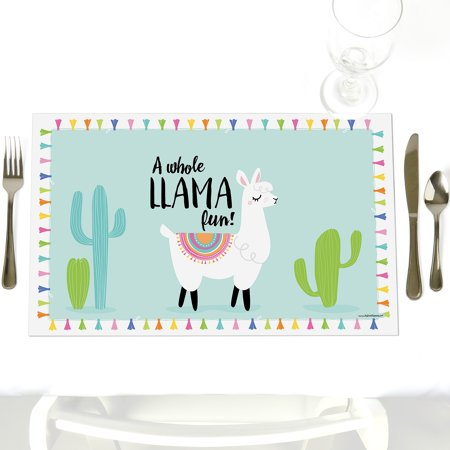 Whole Llama Fun - Party Table Decorations - Llama Fiesta Baby Shower or Birthday Party Placemats - Set of 12 - Fiesta Birthday Party